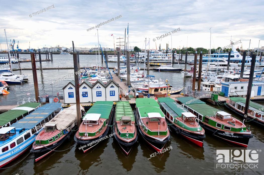 Stock Photo: Small tour boats, Hamburg harbor, Germany.