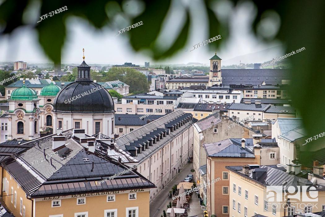 Stock Photo: View of the Neustadt district with dome of Dreifaltigkeitskirche Holy Trinity Church, and Priesterhausgasse street, Salzburg, Austria.
