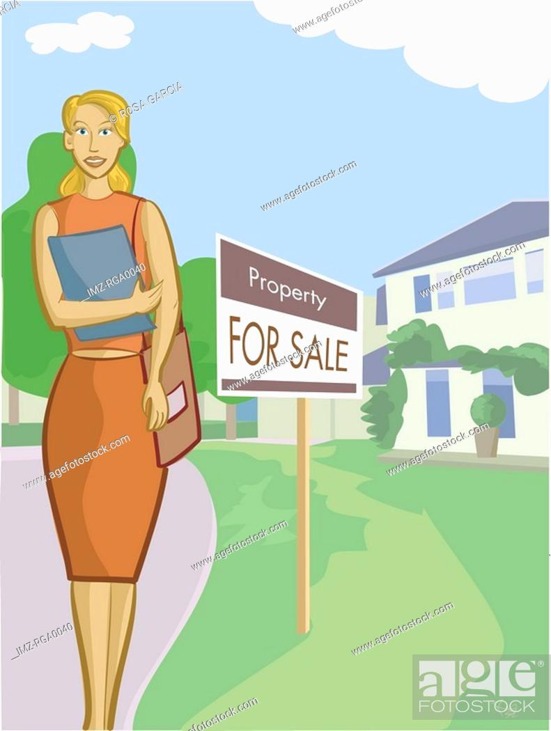 Stock Photo: A realtor standing in front of a property.