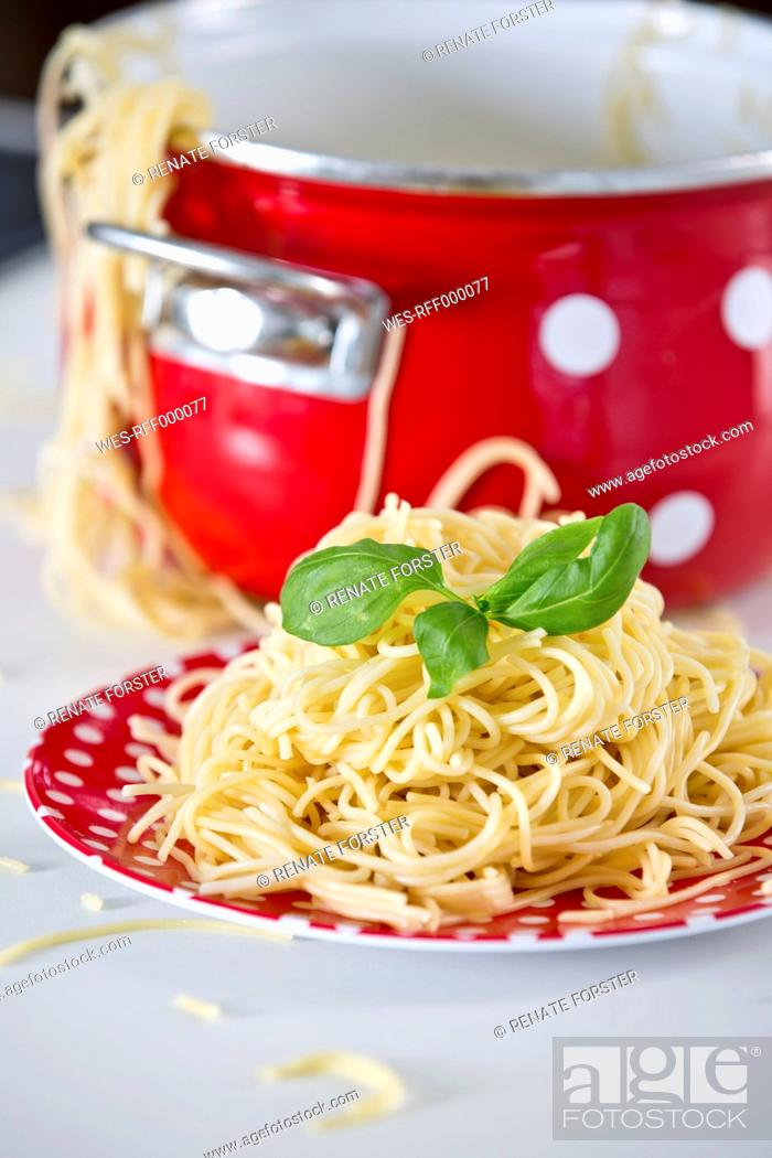 Stock Photo: Germany, Plate of spaghetti with basil, pan in background.