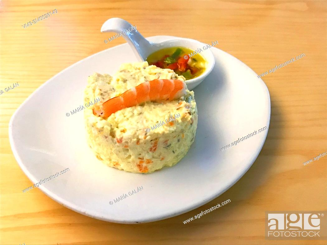 Stock Photo: Russian salad with prawn and salpicon sauce. Spain.