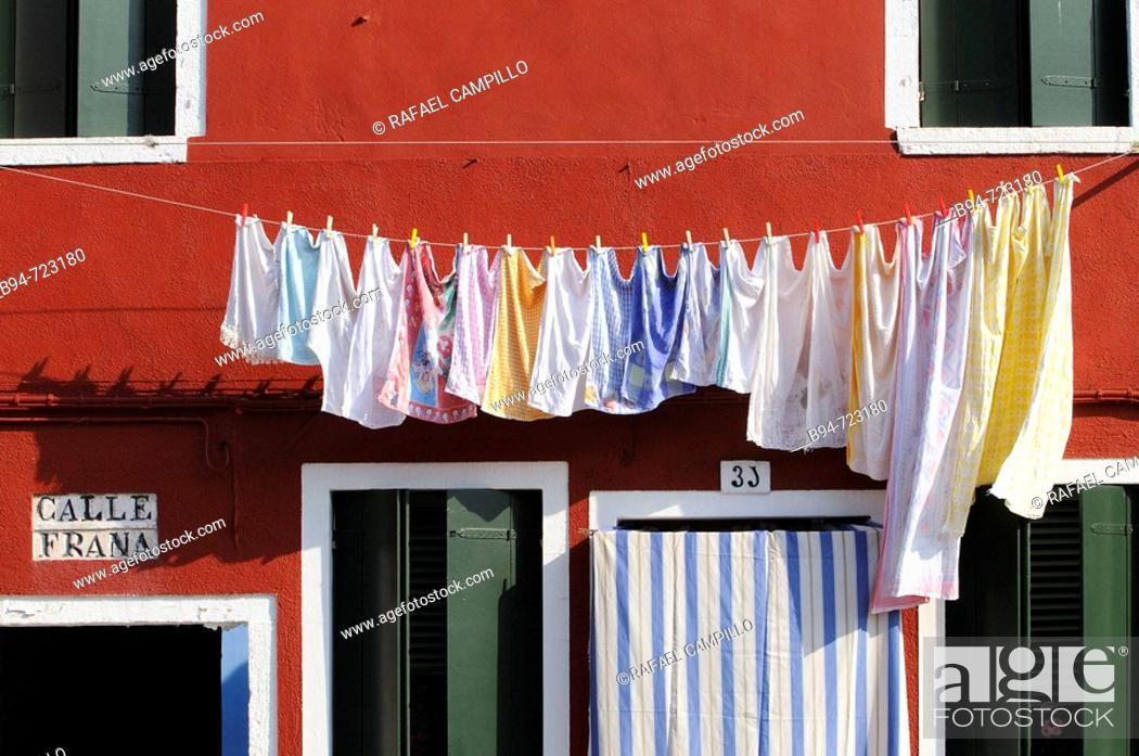 Stock Photo: Clothesline, Burano. Veneto, Italy.
