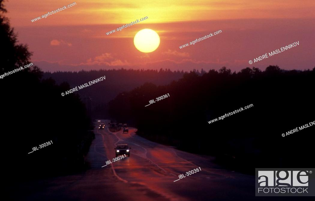 Stock Photo: Sunset over country road, Halland.