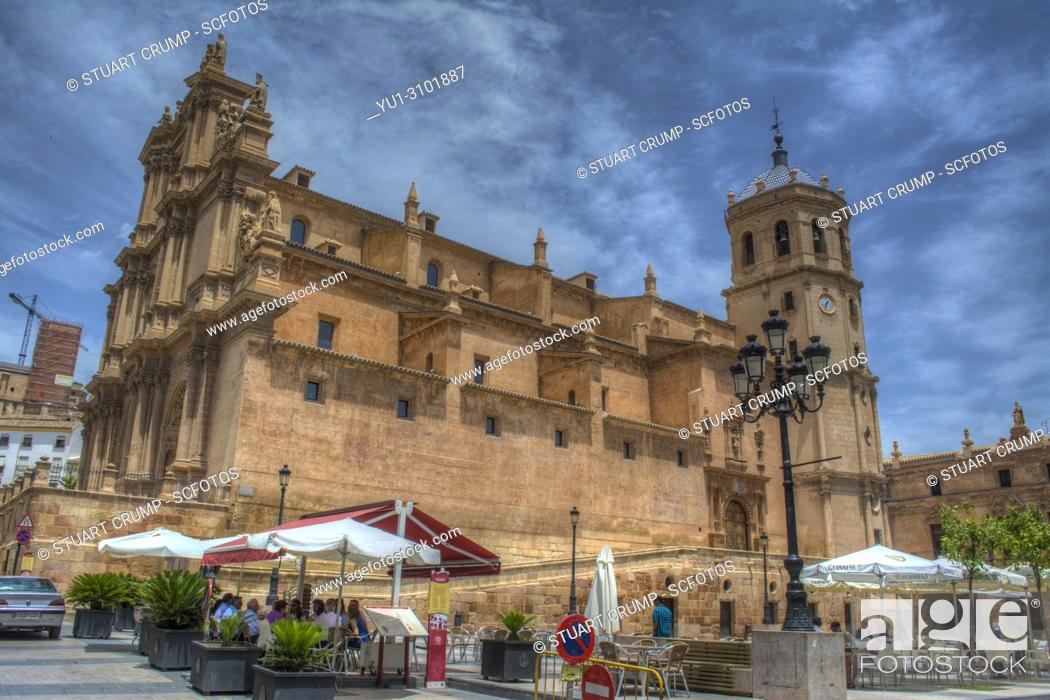 Stock Photo: HDR image of the colegiata de San Patricio church in the plaza de espana in Lorca Murcia Spain.