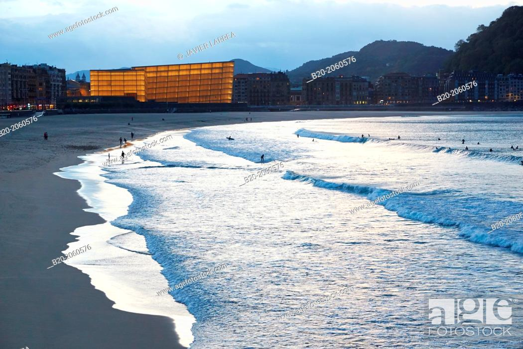 Stock Photo: La Zurriola beach, Kursaal center, Donostia (San Sebastian), Gipuzkoa, Basque Country, Spain.
