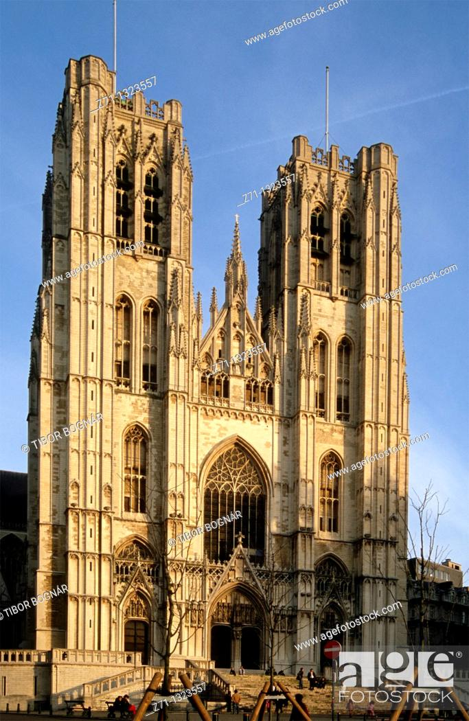 Stock Photo: Belgium, Bruxelles, St Michel Cathedral.