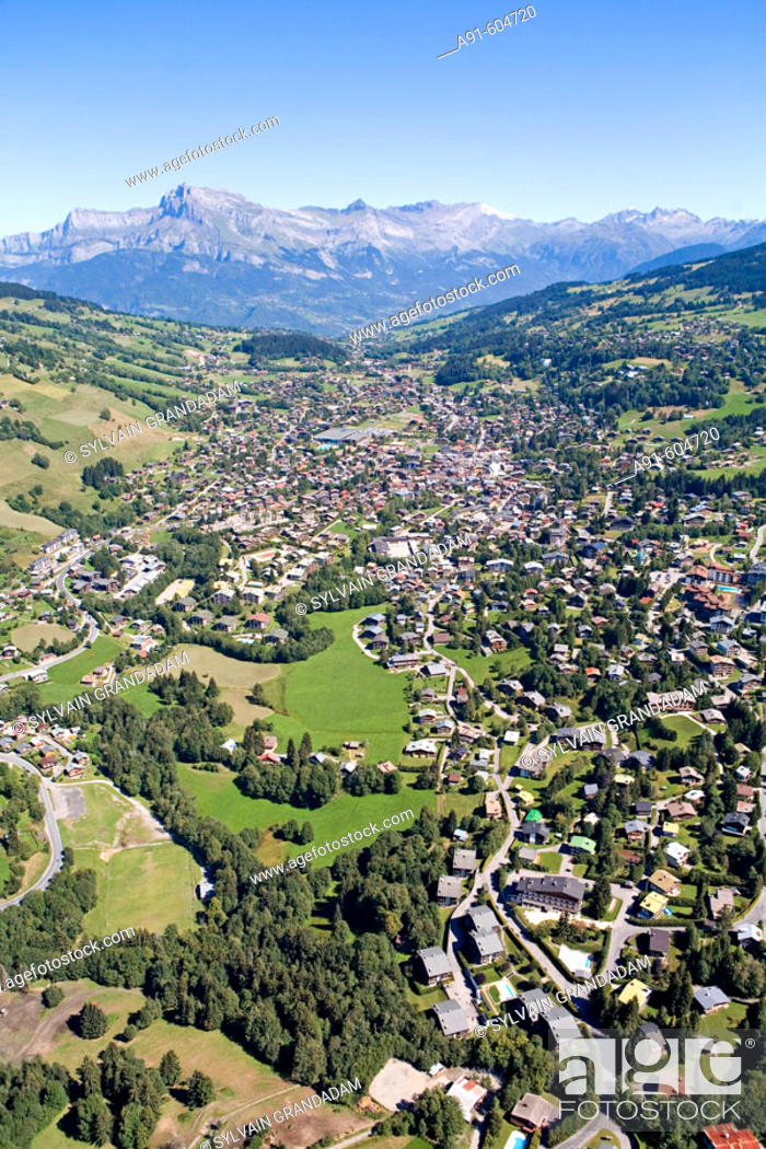 Stock Photo: Aerial photography from a plane over Megeve (winter and summer resort) and surroundings. Haute Savoie (74). France.