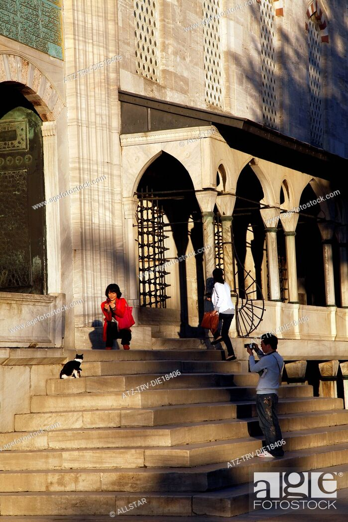 Stock Photo: TOURISTS PHOTOGRAPH CAT AT BLUE MOSQUE ENTRANCE; SULTANAHMET, ISTANBUL, TURKEY; 04/10/2011.
