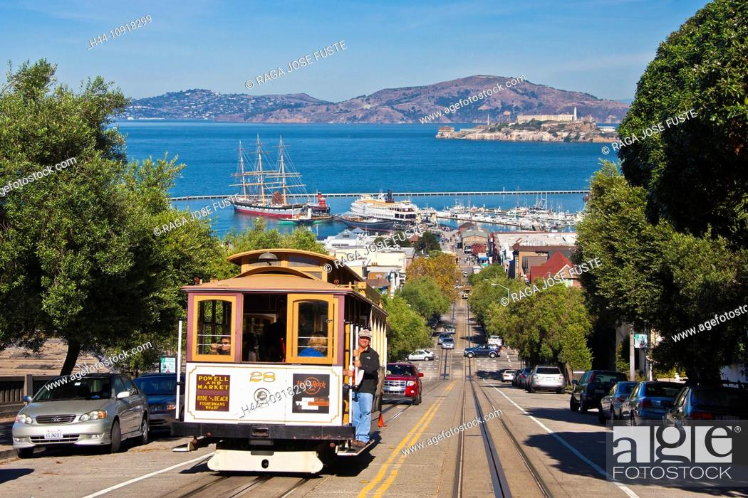 Stock Photo: USA, United States, America, California, San Francisco, City, Hyde Street, Tramway, Alcatraz, Prison, Island, bay, blue, cable, cable car, hill, morning.