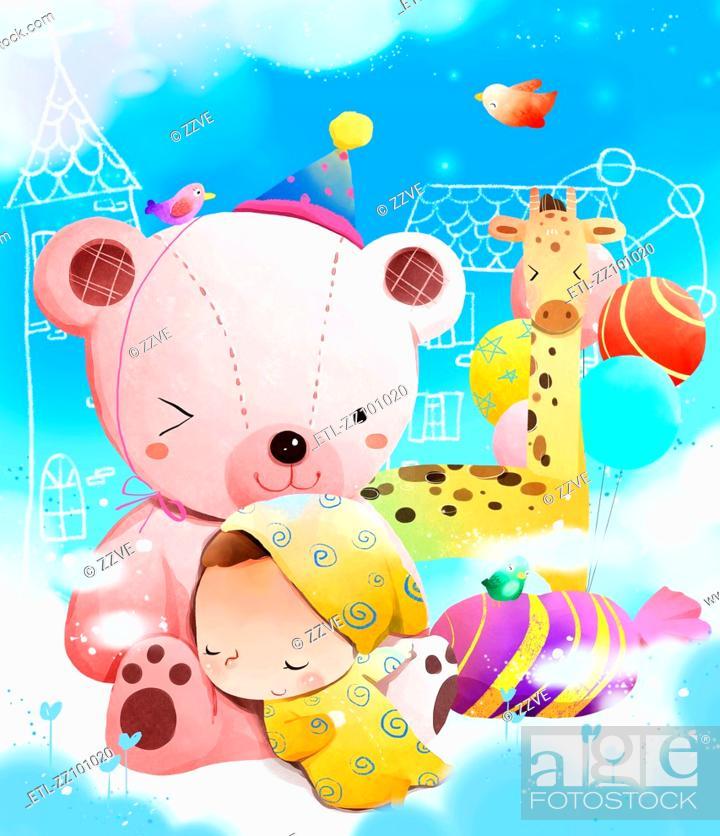 Stock Photo: Child sleeping on teddy bear.