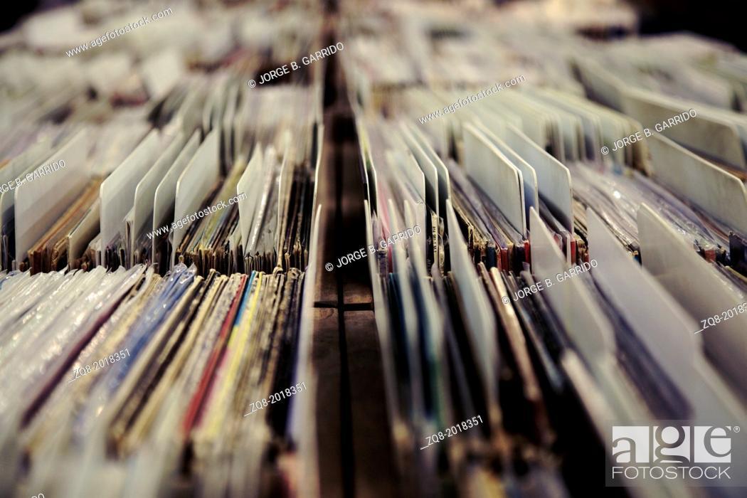 Stock Photo: Vinyl records shop. chicago.