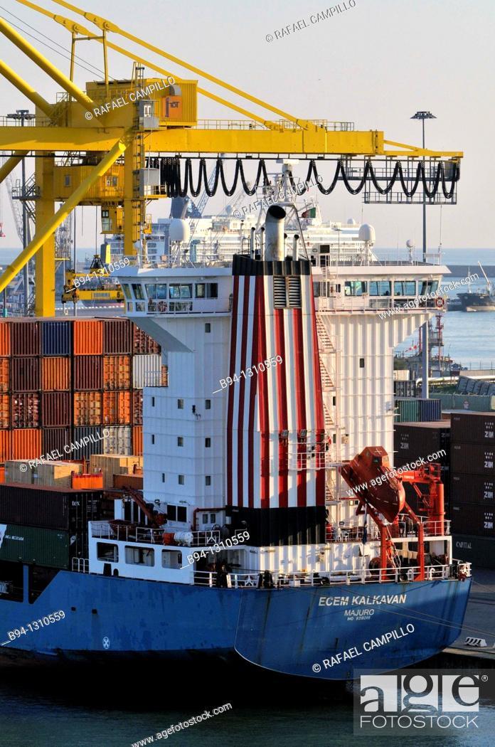 Stock Photo: Merchant ship at port, Livorno, Liguria, Italy.