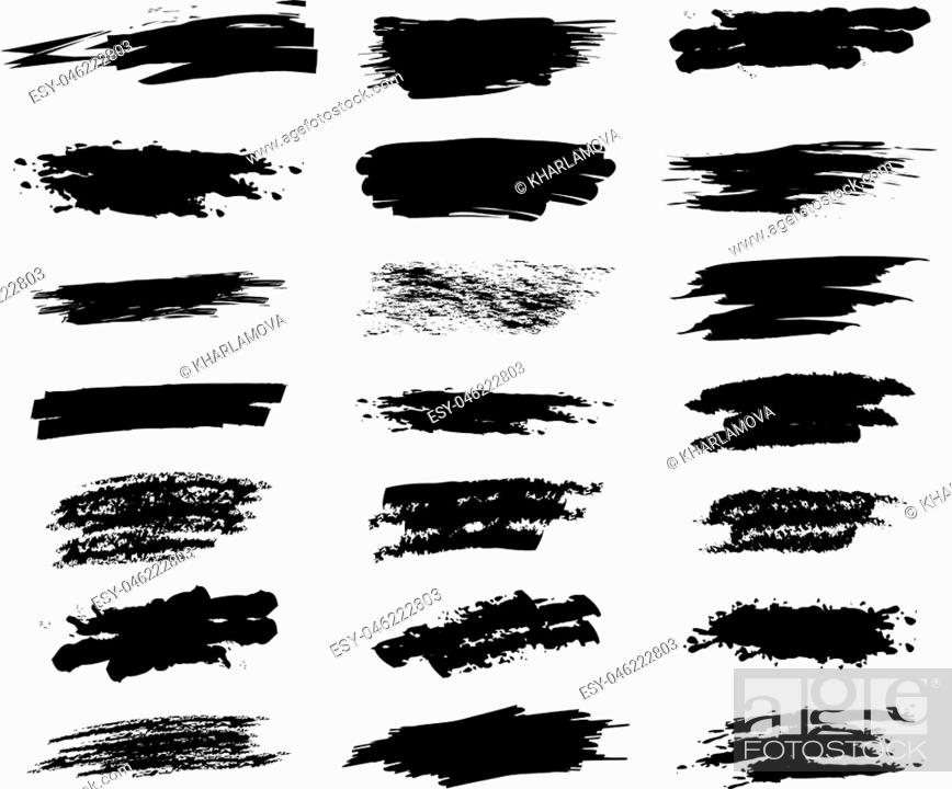Stock Vector: Collection hand drawn brush strok for your design. Grunge paint stripe. Scribble stains. Charcoal chalk texture. Vector illustration.
