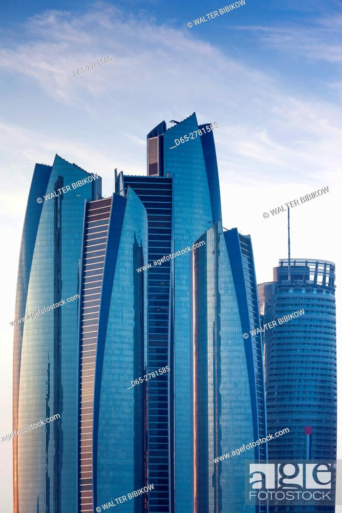 Stock Photo: UAE, Abu Dhabi, Etihad Towers.