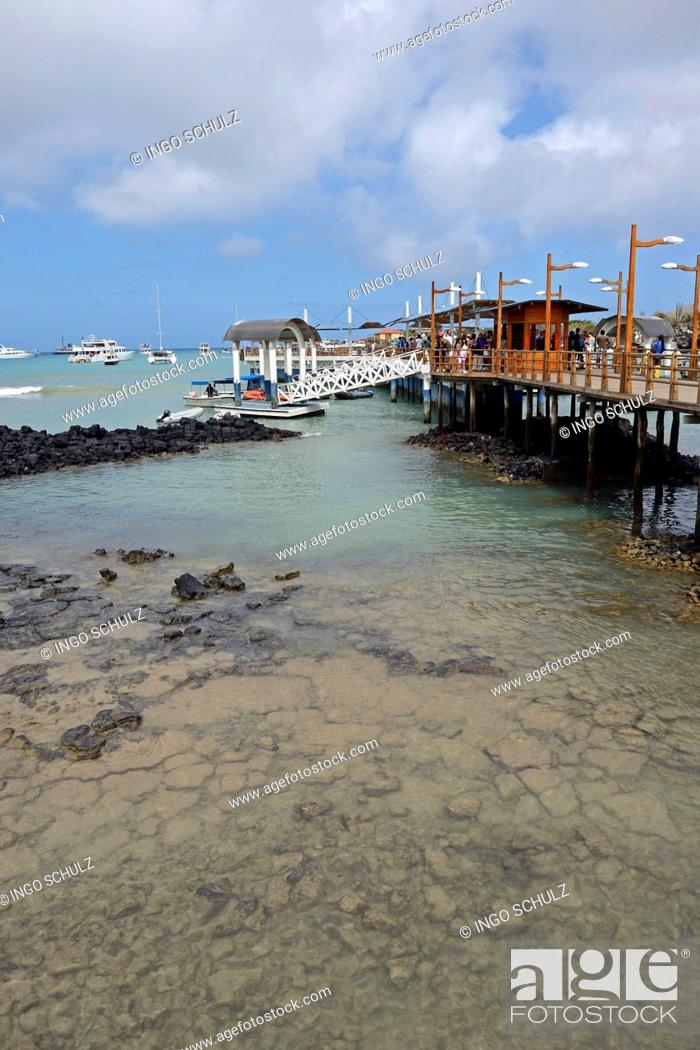 Wharf and jetties as a starting point for Galapagos cruises