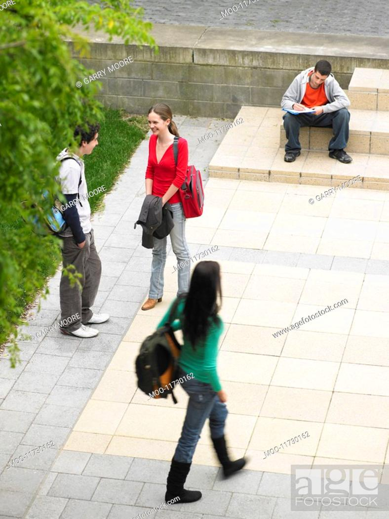 Stock Photo: Students sitting and standing on school grounds outdoors elevated view.