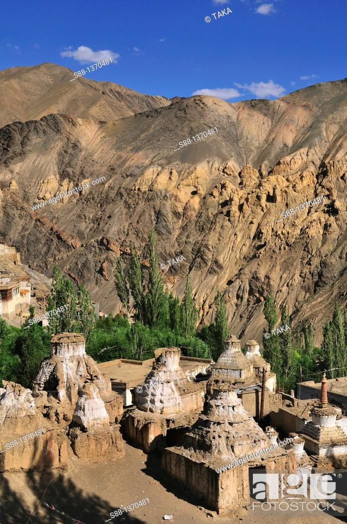 Stock Photo: Buddhism stupas in the village at Lamayuru.