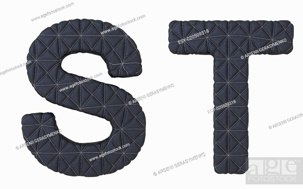 Stock Photo: Luxury black stitched leather font S T letters.