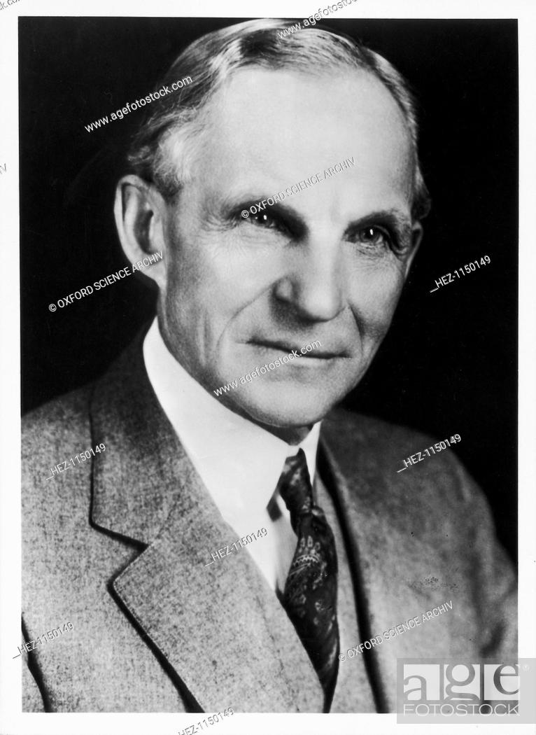 Stock Photo: Henry Ford, American automobile engineer and manufacturer, 1908. In 1903, Henry Ford founded the Ford Motor Company. He pioneered modern 'assembly line' mass.