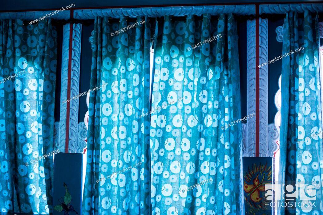 Stock Photo: Close-up of curtains on windows, Pushkar, Ajmer, Rajasthan, India.