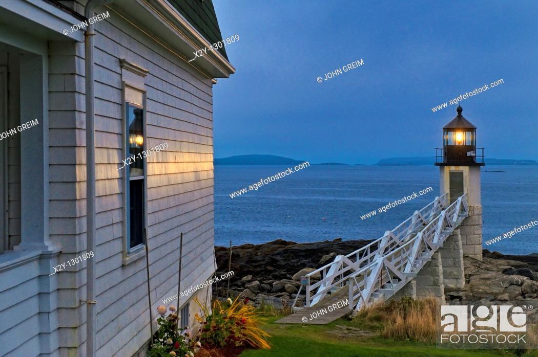 Stock Photo: Marshall Point Light Station, Port Clyde, Maine, USA  Est  1832.