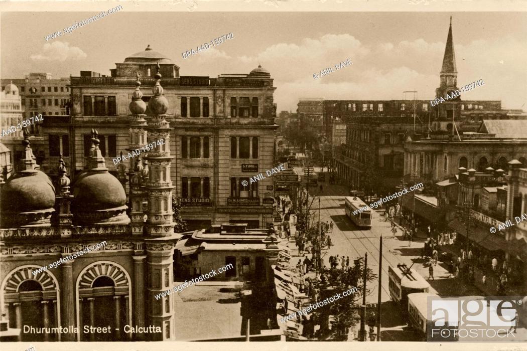 Stock Photo: Postcard old Dhurumtolla street , Calcutta Kolkata , West Bengal , India.