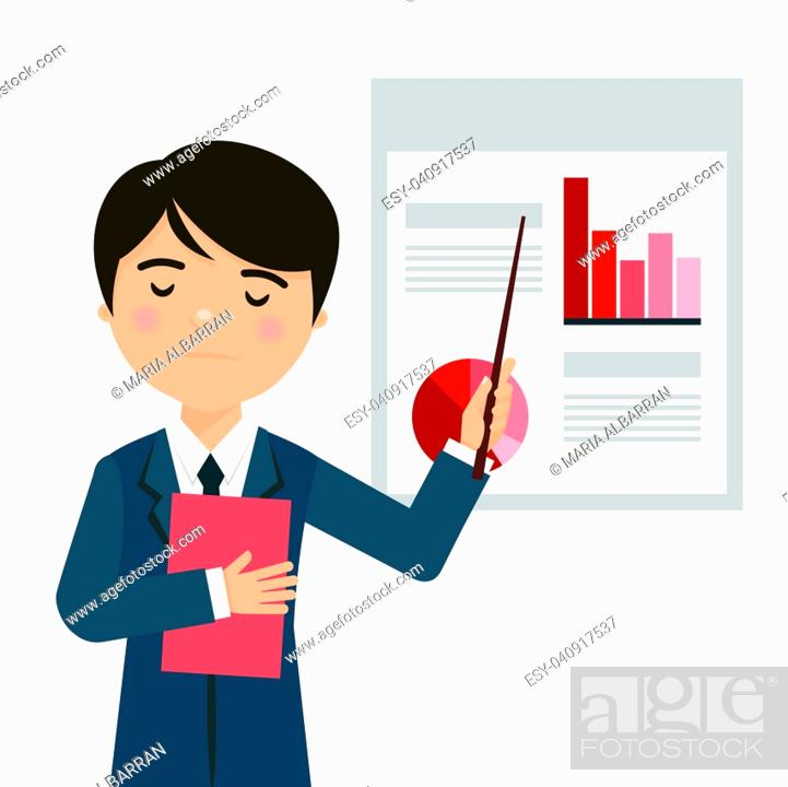 Stock Vector: Worried businessman in a business presentation with negative statistics. Vector illustration.