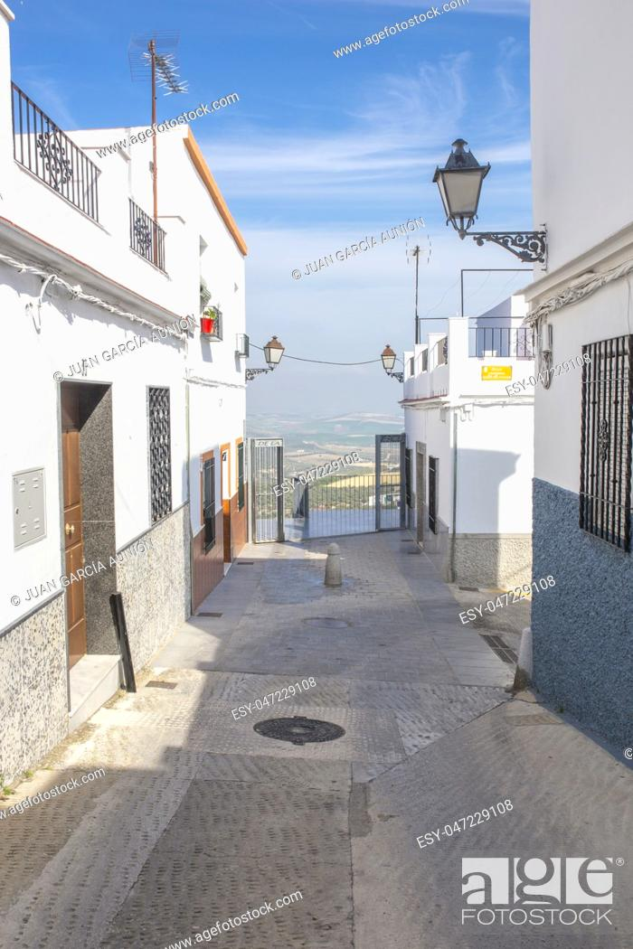 Stock Photo: Sloping narrow street of Montilla, Cordoba, Spain. Home to the sweet wines of the Montilla-Moriles.