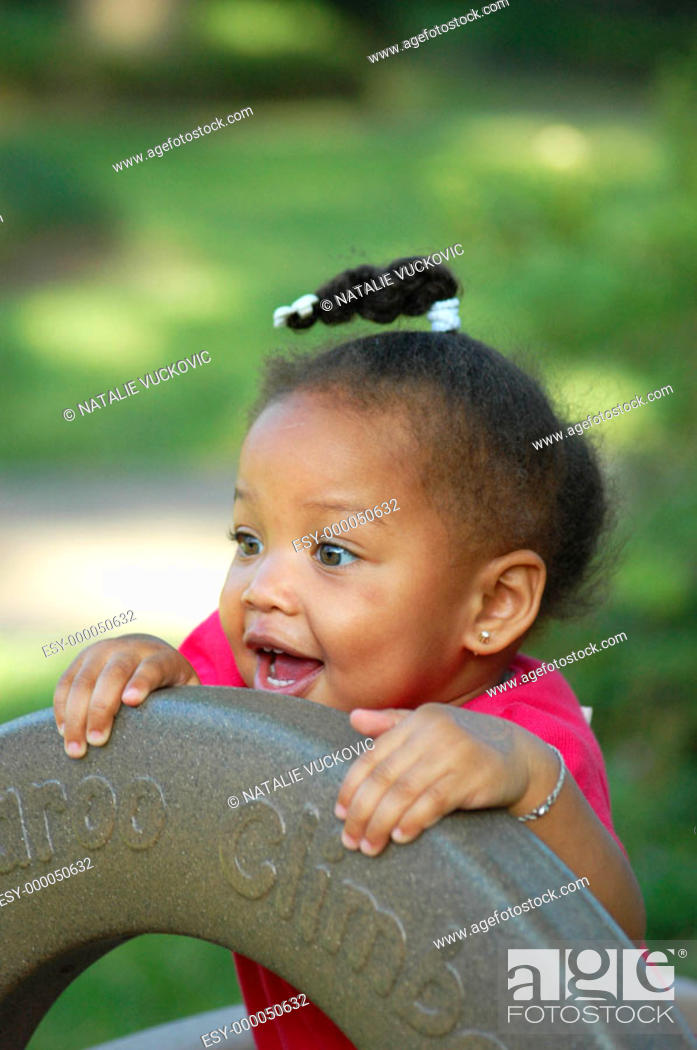 Stock Photo: African American toddler playing.