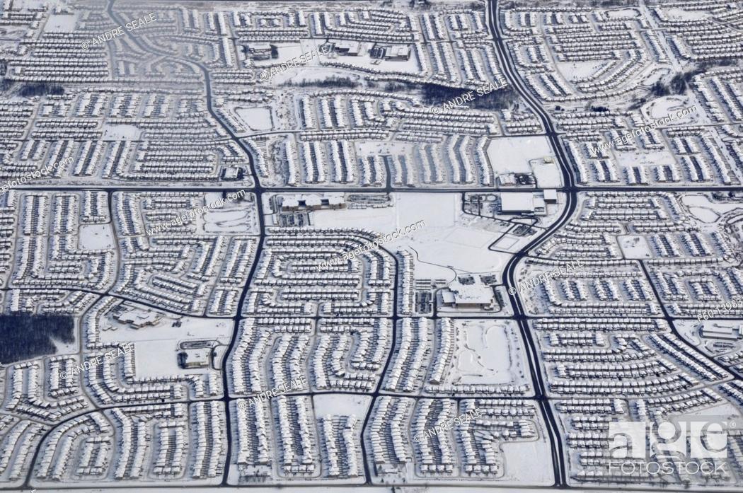 Stock Photo: Aerial view of neighborhood in the snowy winter, Toronto, Ontario, Canada.