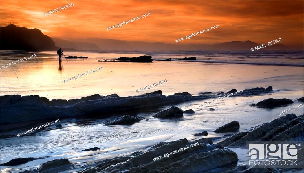 Stock Photo: Coast rocks ans stratum  Atxabiribil beach  Sopelana, Biscay, Basque Country, Spain, Europe.