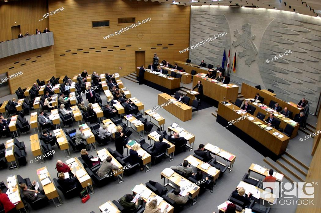 The Plenary Assembly Hall Of The Hessian Landtag During The Plenary