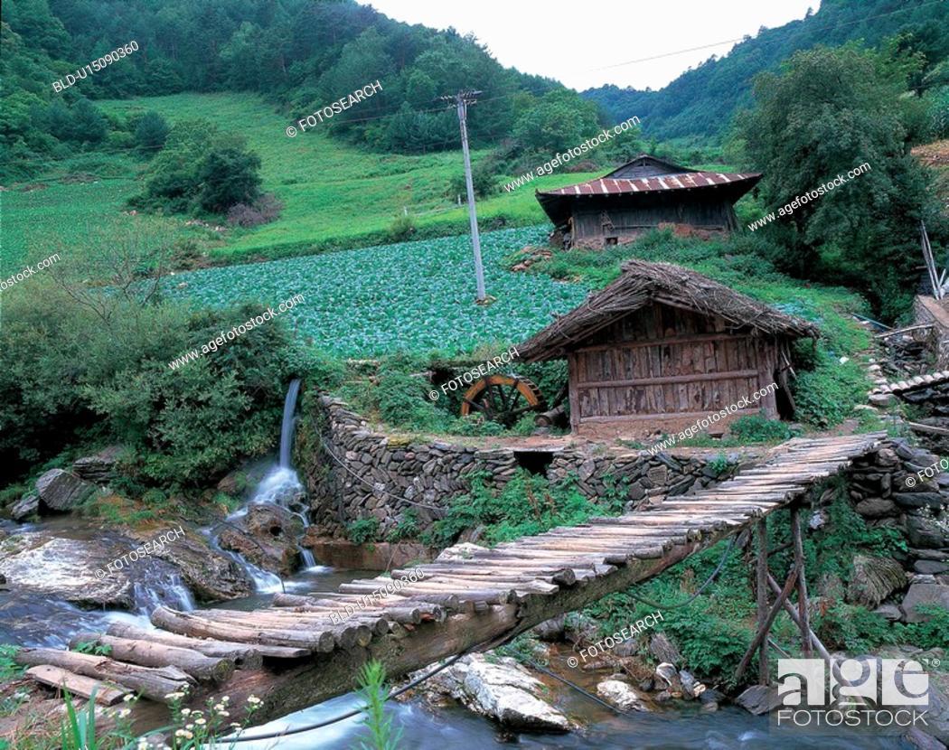 Stock Photo: nature, bridge, mountain, landscape, scenery, stream.