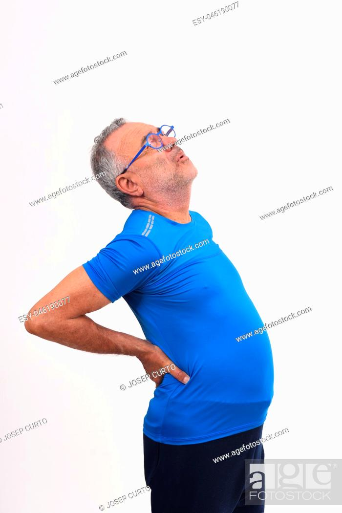 Stock Photo: man with pain in the back on white background.