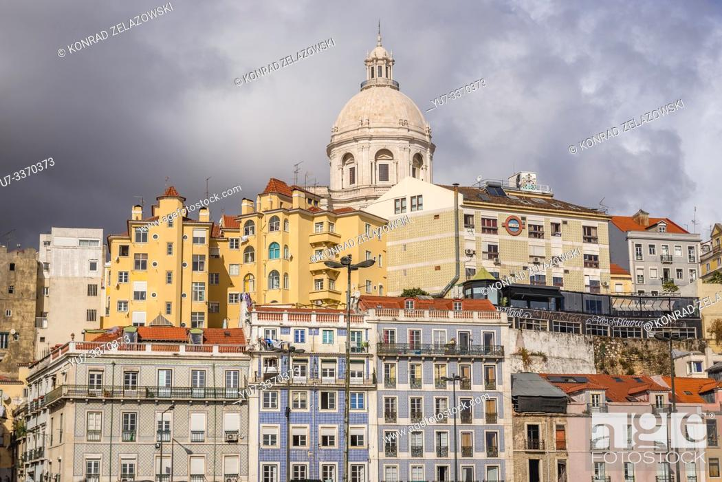Stock Photo: View on tenement houses in Lisbon, Portugal with dome of National Pantheon.