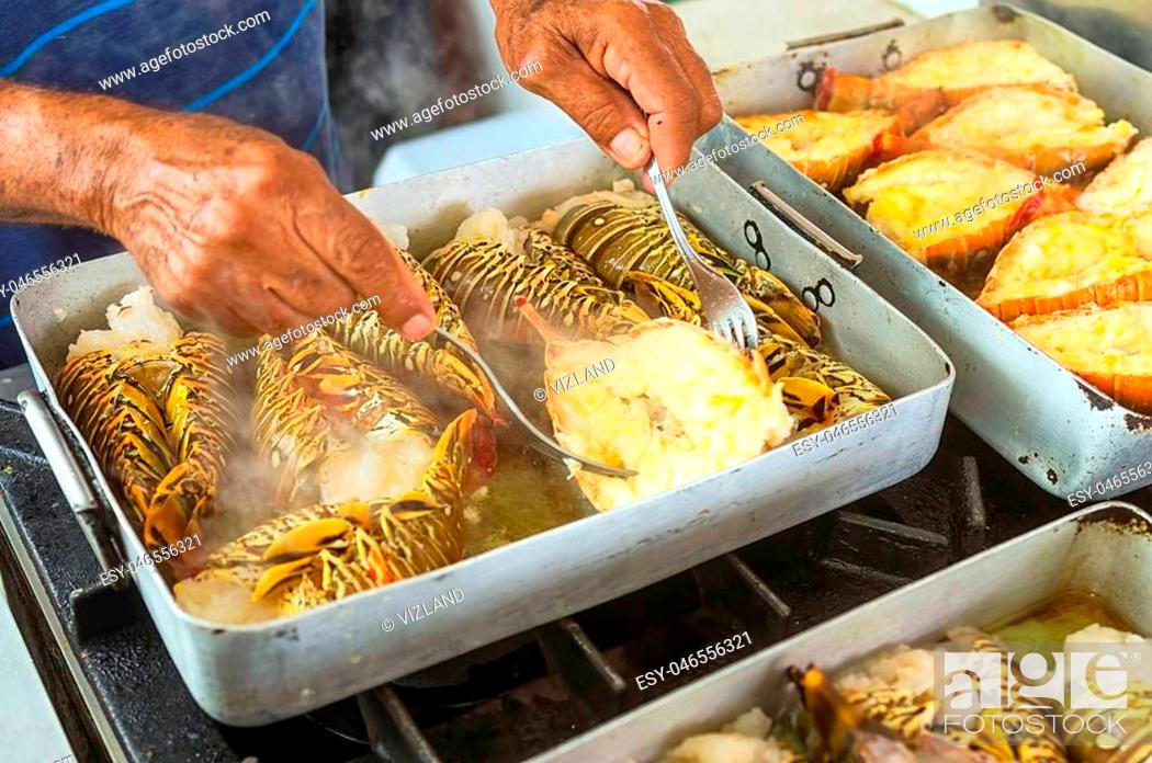 Stock Photo: Lobsters and crabs Large crustaceans with a flattened body, a delicacy of sea food, useful tasty meat, a sign of luxury and rich.