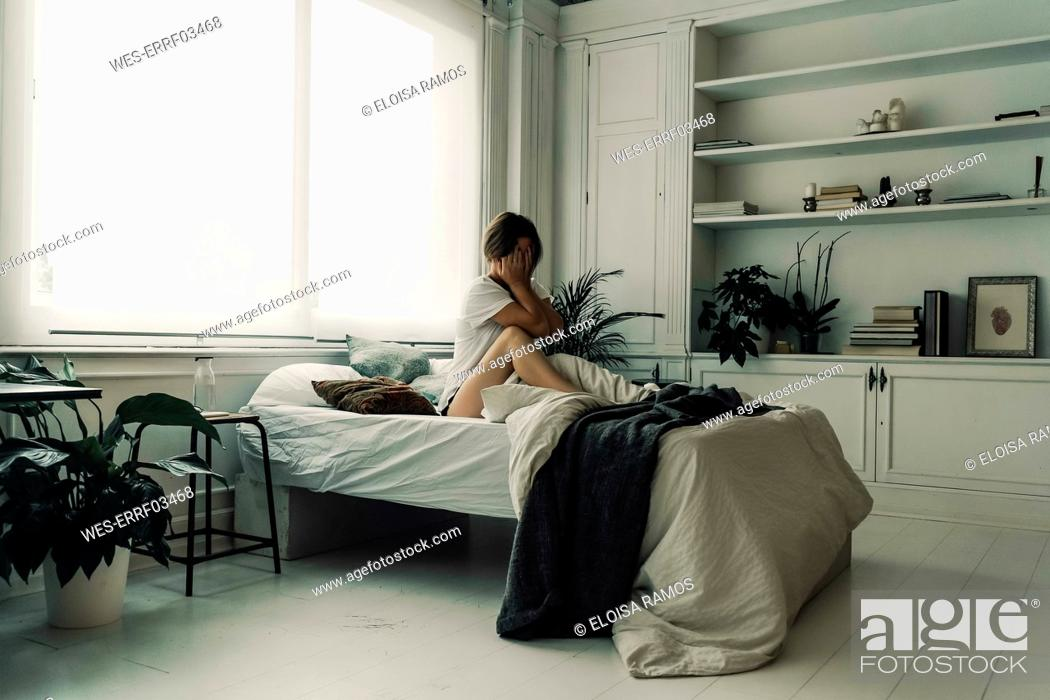 Stock Photo: Woman waking up in the morning.