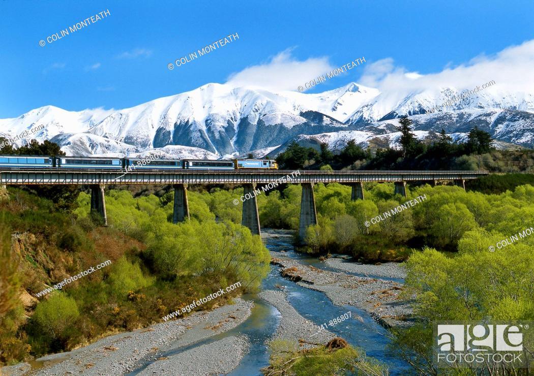 Imagen: Tranz Alpine train near Springfield Canterbury New Zealand.