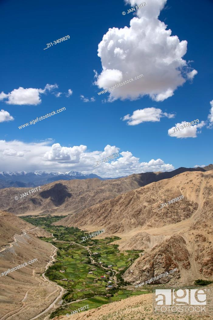 Stock Photo: view at Indus valley from Khardung La pass in Ladakh, India.