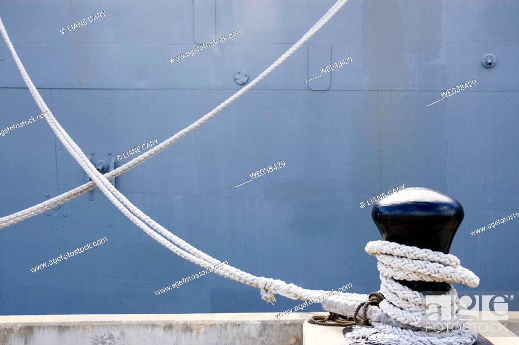 Stock Photo: Ropes holding  USS Missouri battleship, Pearl Harbor, Oahu, Hawaii.