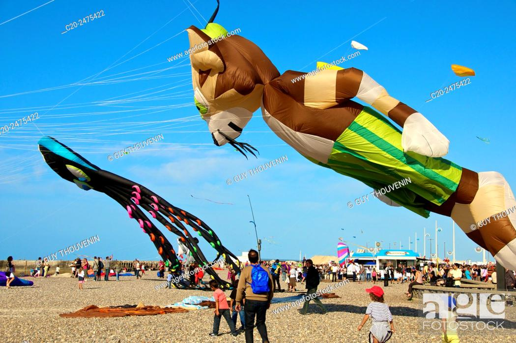 Stock Photo: Flying Kites in the sky, autumn festival, beach, Dieppe, 76, Normandy, France.