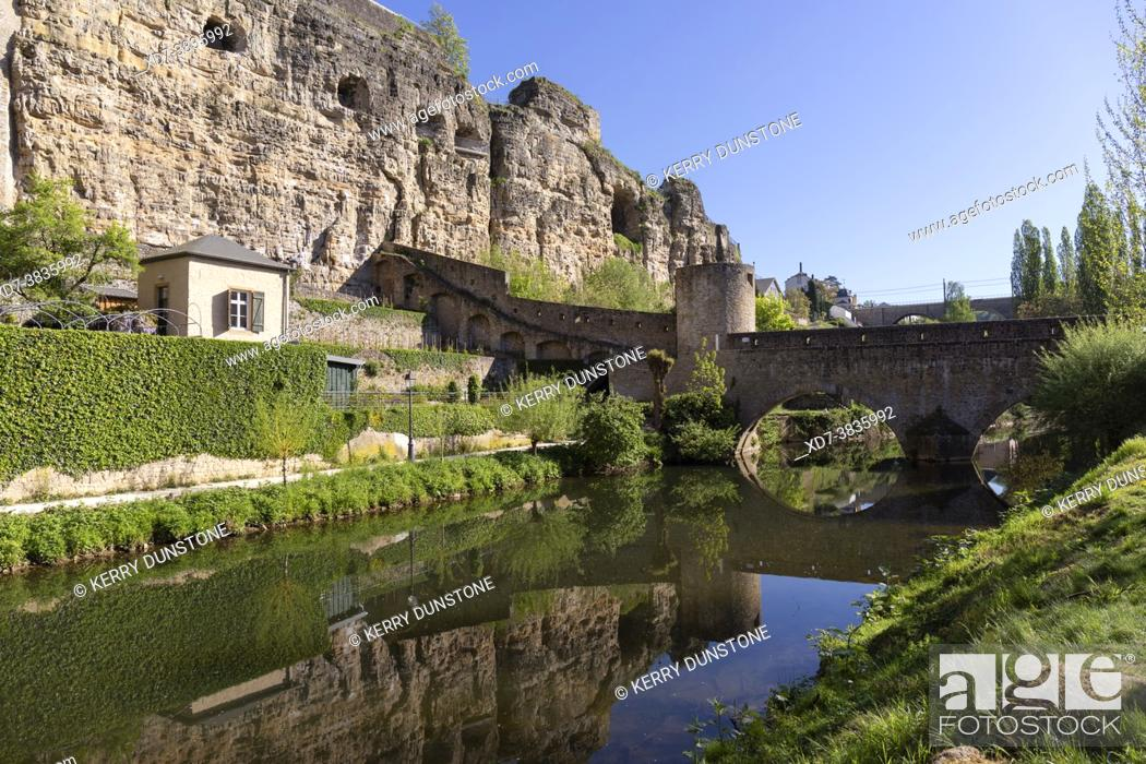 Stock Photo: Europe, Luxembourg, Luxembourg City, The ancient Stierchen Bridge across the Alzette River, below the Casemates du Bock fortifications.
