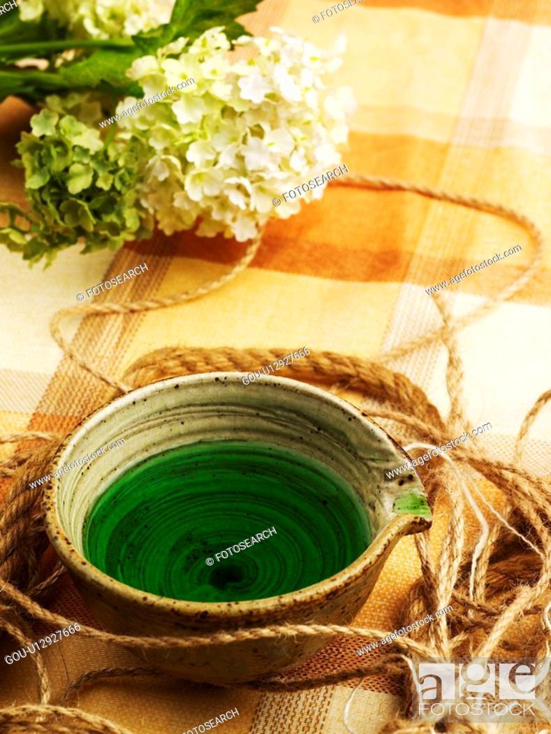 Stock Photo: food, ceramic cup, braid, string, flower, tea-things.