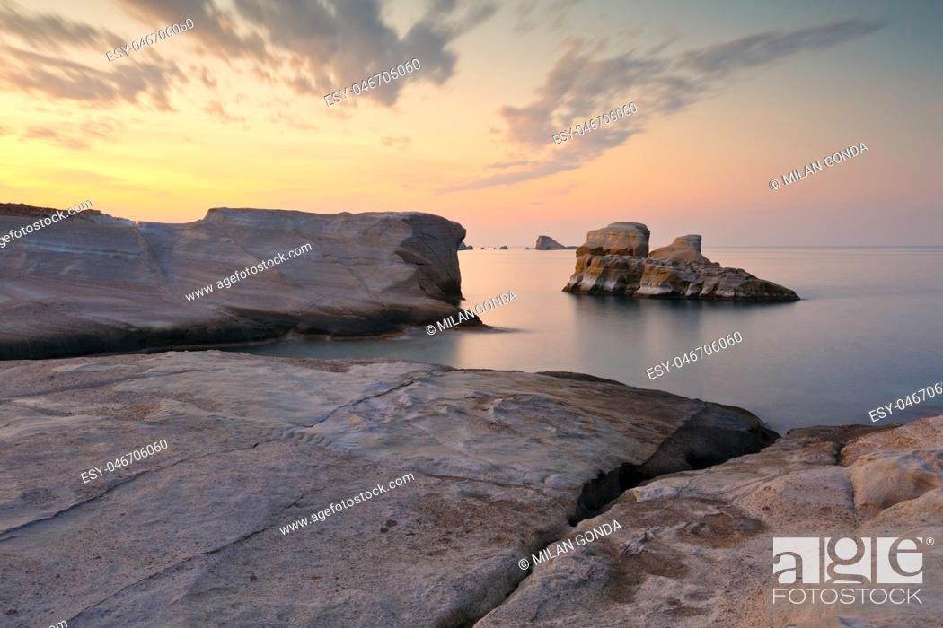 Stock Photo: Sea stack at Sarakiniko beach in Milos island, Greece. .