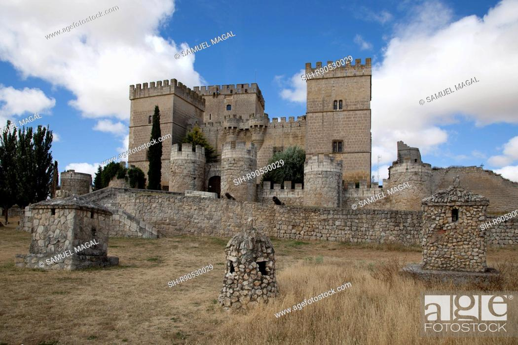 Stock Photo: Ampudia castle was constructed between 1461 and 1488 by Don Garcia Lopez de Ayala, the son of Don Pedro Garcia of Herrera, first holder of Mayorazgo de Ampudia.