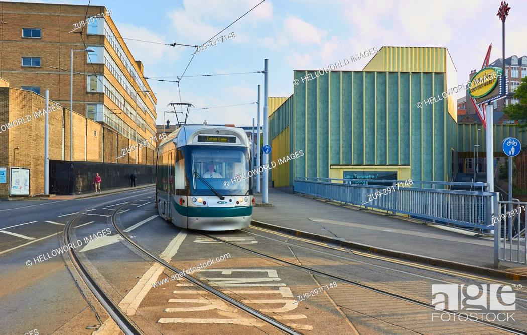 Stock Photo: Tram passing Nottingham Contemporary Gallery, Nottingham, Nottinghamshire, east Midlands, England.