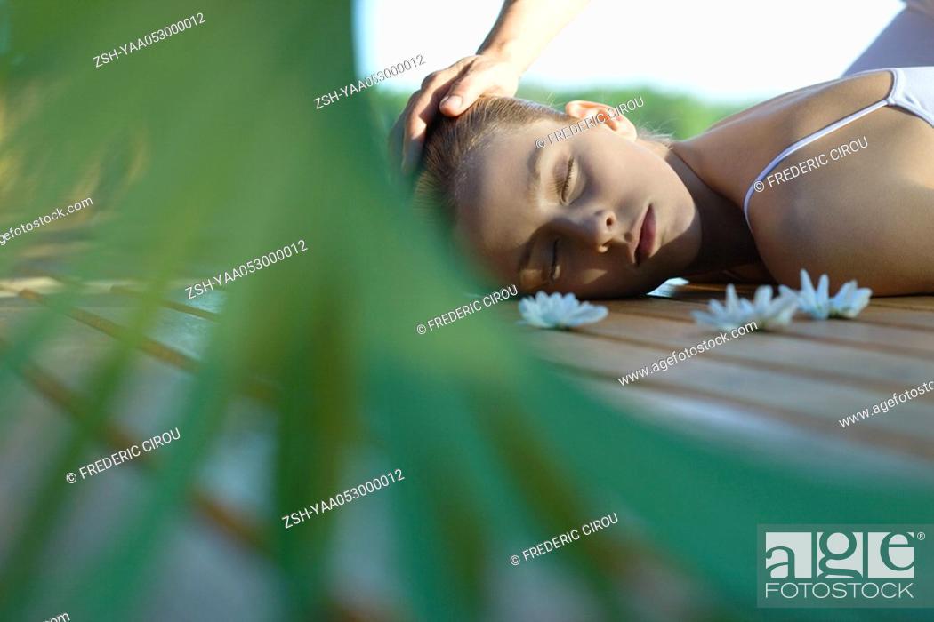 Stock Photo: Woman having head massage.