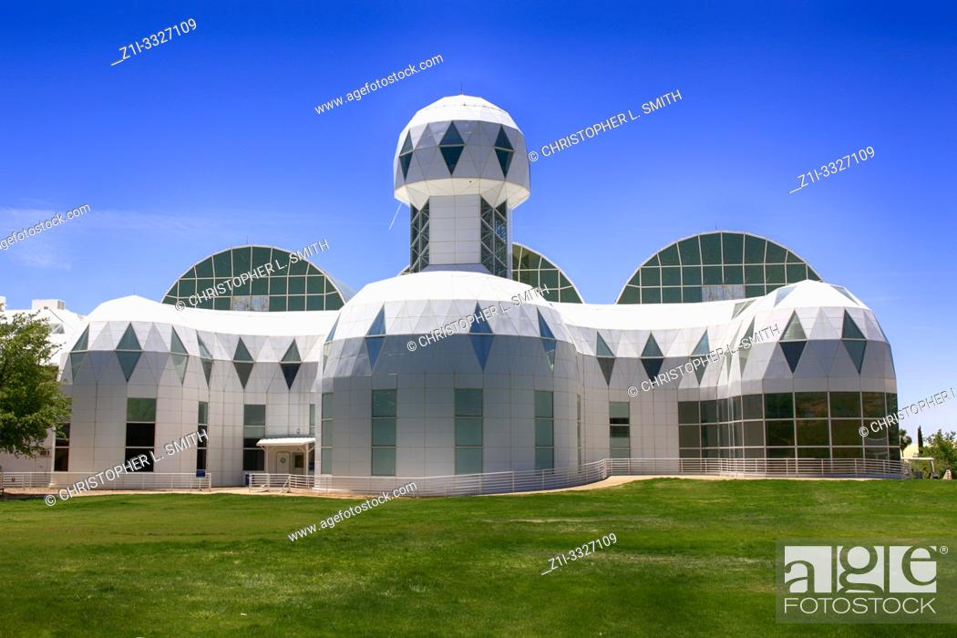Stock Photo: The Lower Habitat building of Bisosphere 2, the American Earth system science research facility located in Oracle, AZ.