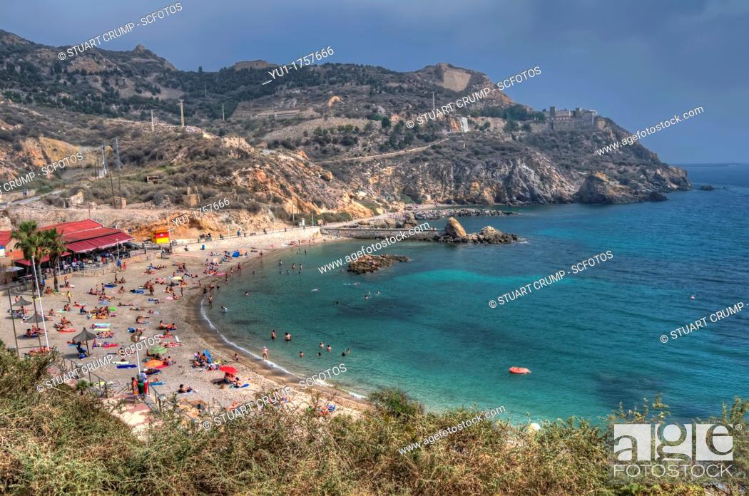Stock Photo: HDR of Playa Cala Cortina beach just outside the city of Cartagena in the region of Murcia, South Eastern Spain.