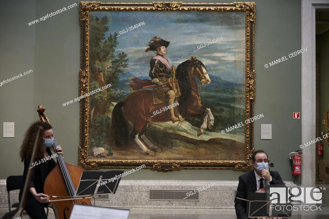 Stock Photo: People visits The Prado Museum in its reopening..The Prado Museum in Madrid is open again after lockdown measures are eased during the novel coronavirus.